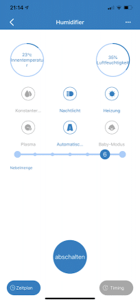 App des Proscenic Luftbefeuchtern